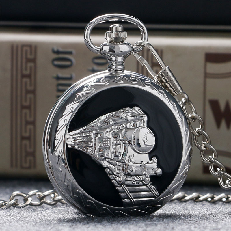 Stainless Steel Railway Pocket Watch Train Silver Pendant Men Gift Necklace Watches Free Shipping Cheap Gift old antique bronze doctor who theme quartz pendant pocket watch with chain necklace free shipping