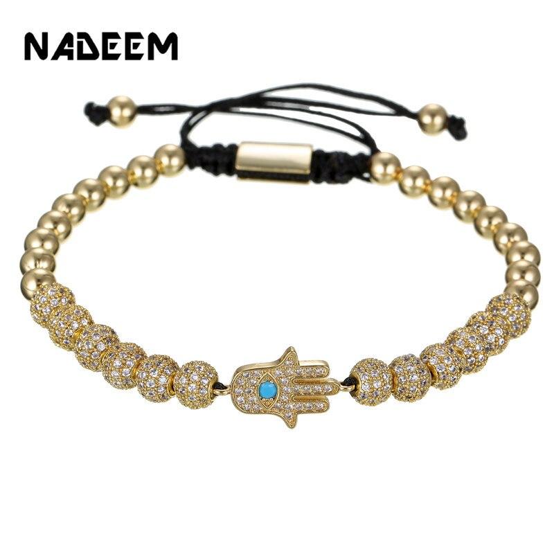 New Cubic Ziconia Lucky Eye & Hand of Fatima Hamsa Charm Bracelet Adjustable CZ Ball Braiding Bracelet for Women Men Jewelry