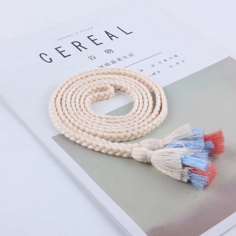 Fashion Women Woven Belt Thin Braid Tassel Rope Waist Belts For Dresses  Waistband Knot Decorated Cotton String
