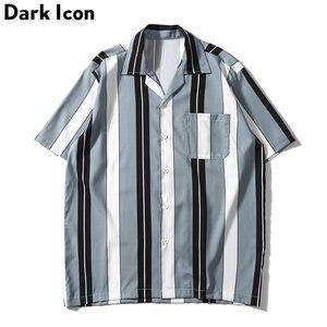 Image 3 - Dark Icoon Gestreepte Turn Down Kraag Voorvak Street Shirts Mannen 2019 Zomer Hawaii Stijl Mannen Shirts Hip hip Overhemd