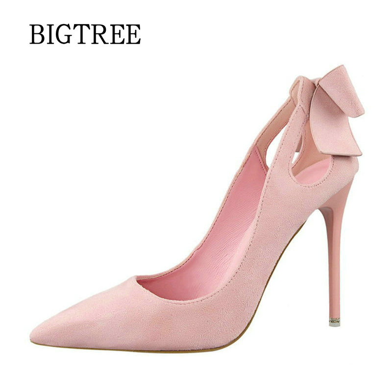 BIGTREE New Summer Women Pumps Sweet Cute Bow Thin High Heels Shoes Suede High-heeled Pointed Hollow Sandals Elegant Stiletto koovan women pumps 2017 pointed high heeled shoes pink pearls wild night clubs single buckle women s sandals ladies summer