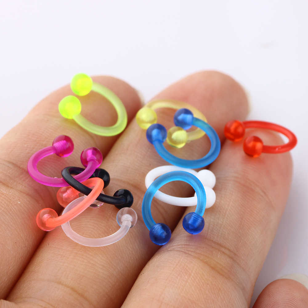 JUNLOWPY Acrylic UV CBR Nose Rings Tragus Helix Earrings Nose Hoop Ring Body Jewelry Piercing Unisex 16 Gauge 8mm 1pcs 9 colors