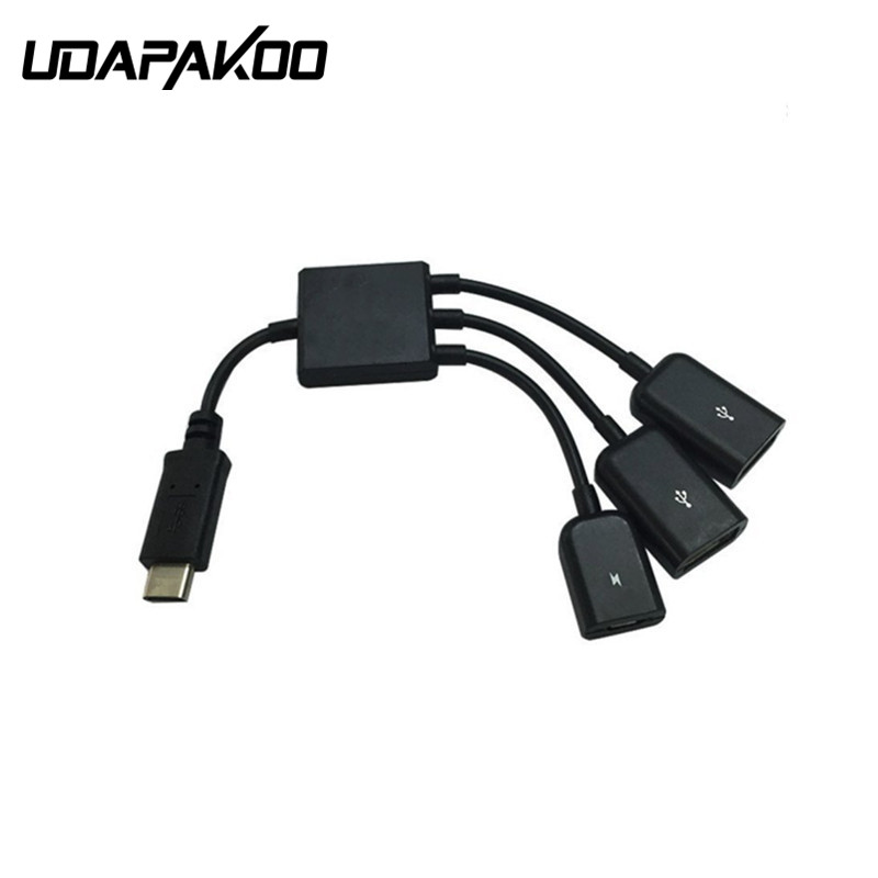 20CM 3 in 1 USB OTG Cable Adapter & Type C OTG Host Cable Hub Cord Adapter Connector Splitter for Smartphone and Tablet