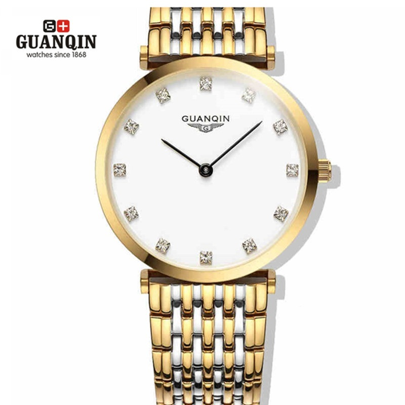 ФОТО Famous  Gold GUANQIN Watch Woman Reloj Women Dress Diamond Watches Rhinestone Quartz Clock