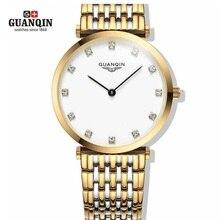 Marca de fábrica famosa de Oro GUANQIN Reloj de Mujer 2016 Reloj Vestido de Las Mujeres Relojes de Diamantes de Lujo Rhinestone Reloj de Cuarzo Relojes de la Mujer Reloj
