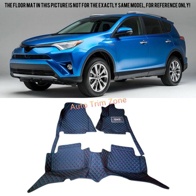 Black Interior Leather Floor Mats & Carpets For Toyota RAV4 2013-2016 XA40