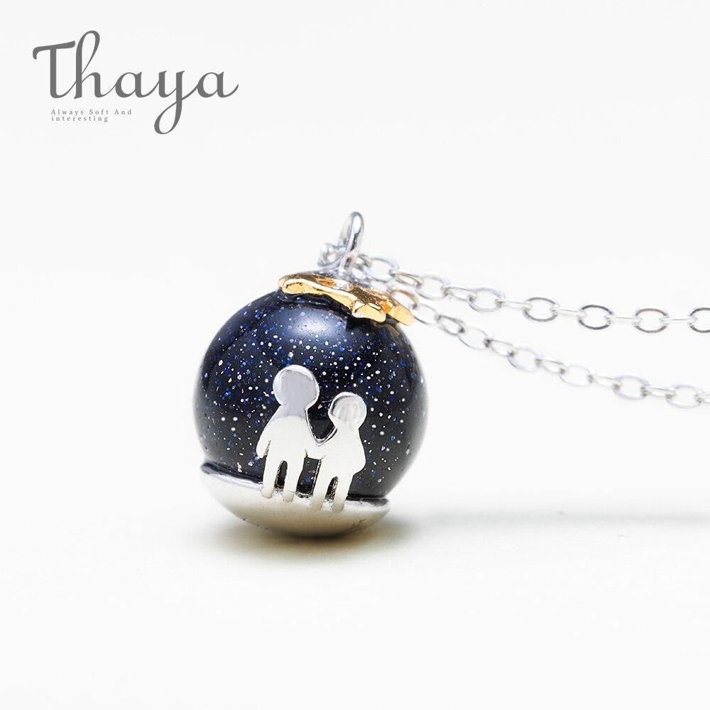 Thaya fiesta azul grava Colgante de Piedra de Gema collar S925 de plata esterlina de los niños de la infancia Collar para las mujeres Chic único regalo