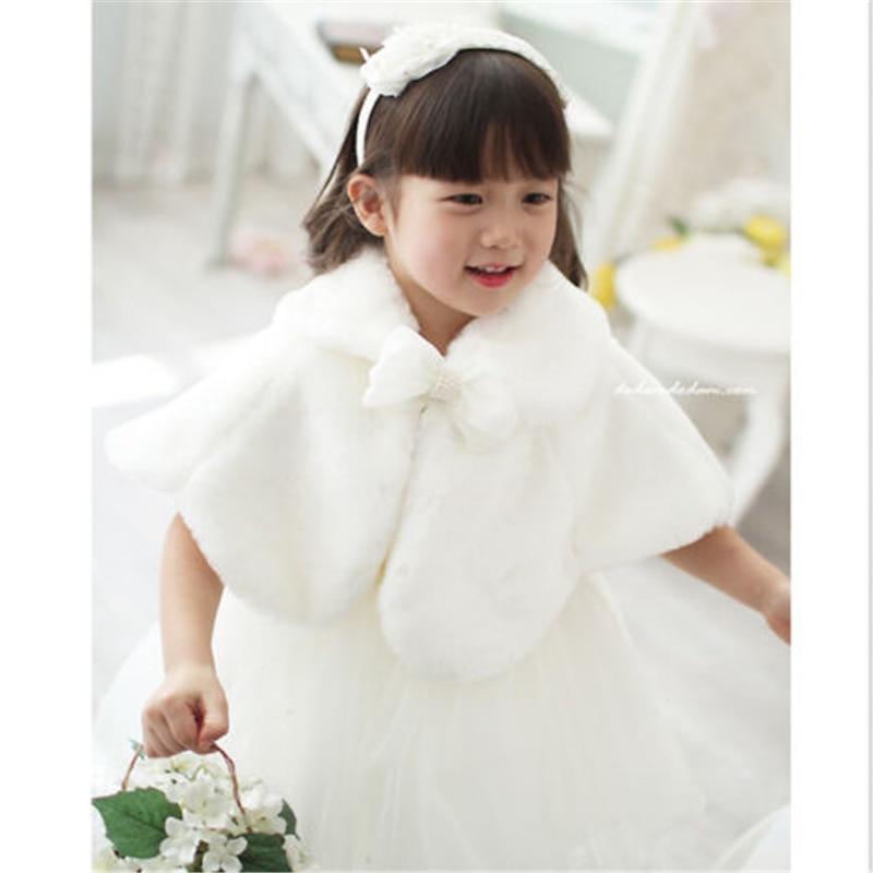 2017 Kid Winter Coats For Girls Faux Fur Cape Wedding Warm Cloaks Shawl Shrug Outerwear Coats Hot Sale Baby Girl Plush Bow Cloak