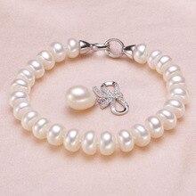 Brazalete de Perlas de Agua Dulce de la boda para Las Mujeres, Bienes Naturales Pulseras de Perlas de 925 joyas de Plata de La Muchacha Mejor Regalo de Cumpleaños de Calidad Superior