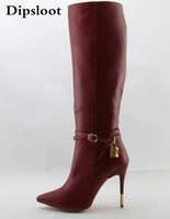 Fall Hot Sale Women Fashion Red Wine Genuine Leather Zipper Pointed Toe Knee High Boots Stiletto Heels Gold Lock Long Boots