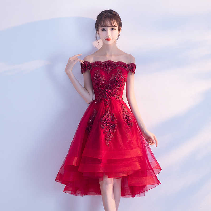 cc992d79ea8f ... Wine Red High Low Prom Dresses 2019 Sexy Boat Neck Off The Shoulder  Luxury Appliques Flower ...