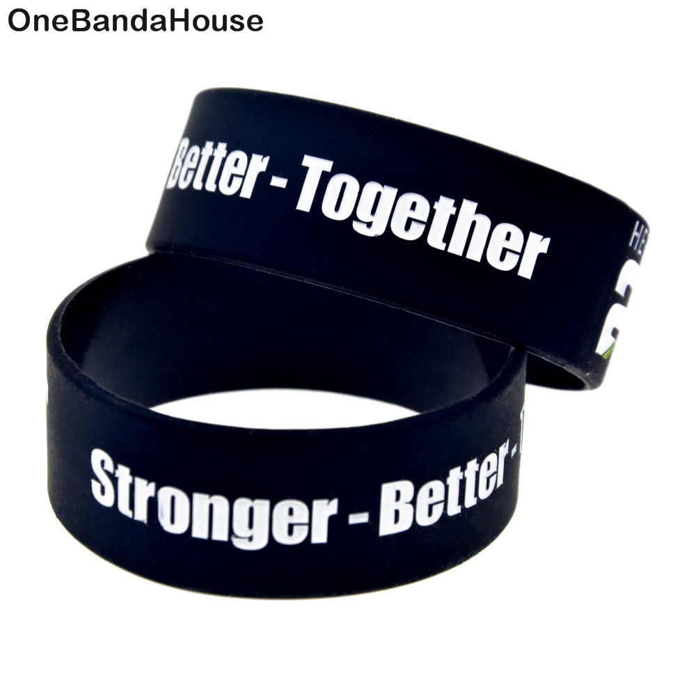 OneBandaHouse 1PC 1 Inch Wide Black Fitness Bracelet 24 Hour Fit Stronger Better and Together Silicone Wristband Sport Bangle