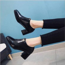 Women Ankle Boots Platform Elastic Band Chunky Heel Shoes Female Slip On Short Boot Autumn Mid Heels Shoe For Ladies цена 2017