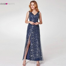Ever Pretty Sparkly Navy Blue Evening Dresses 2018 New Arrival V Neck A  Line High Split Formal Women Evening Gowns EP07287NB ac02cfb5a4b0