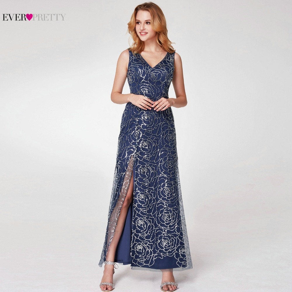 Ever Pretty Sparkly Navy Blue Evening Dresses 2019 New Arrival V Neck A Line High Split Formal Women Evening Gowns EP07287NB