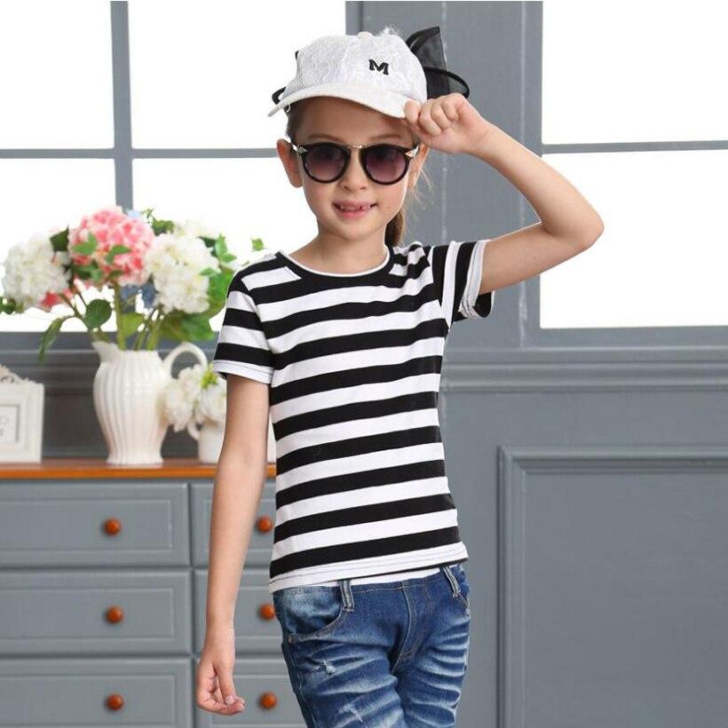 Mr.1991 Brand 2-12 year girls t-shirt newest black&white stripe style short sleeve tshirt for girl kids clothing tops T23