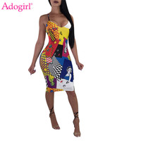 Adogirl Fashion Print Spaghetti Straps Plus Size Club Party Dress Women Sexy V Neck Backless Bodycon