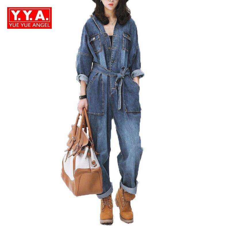Vintage Women Loose Fit Casual Bodysuits Female Belt Sashes Denim Jean Jumpsuits European Overalls For 4 Season Big Pockets Blue
