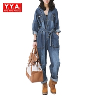 Vintage Women Loose Fit Casual Bodysuits Female Belt Sashes Denim Jean Jumpsuits European Overalls For 4 Season Big Pockets Blue