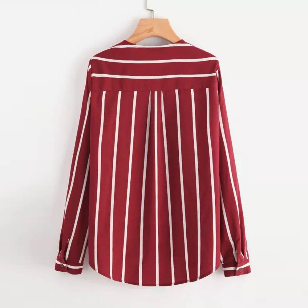 Rayas Camisa Estampado La Mujeres Con Las Mujer En Blusa Moda Femenina S De V Manga Rojo Blusas Larga Cuello A 2 2018 n8gvqYvdz