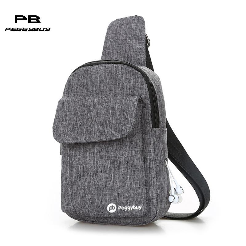 pb Peggybuy Canvas Men's Crossbody Bag Single Shoulder Chest Sling Pack Bag Leisure Messenger Crossbody Chest Bag for Men/Women