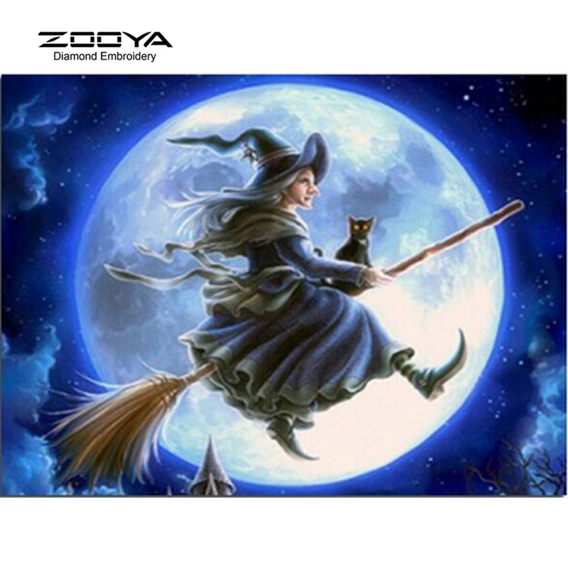 Diamond Embroidery Witch In The Moonlight Diy Diamond Square Drill Rhinestone Pasted Crafts Needlework Home Decoration BJ362