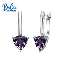 Bolaijewelry,925 silver earrings with good earring, natural Brazil amethyst trl7.0 mm, classic gift of choice, girl choice.
