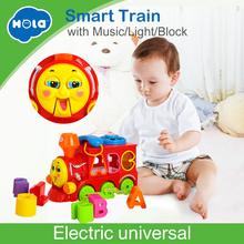 Купить с кэшбэком Huile Toys 8810 Baby Toys Bump and Go Action Learning Train Lights and Music Block Letters Shape Sorter Educational Toys Gifts