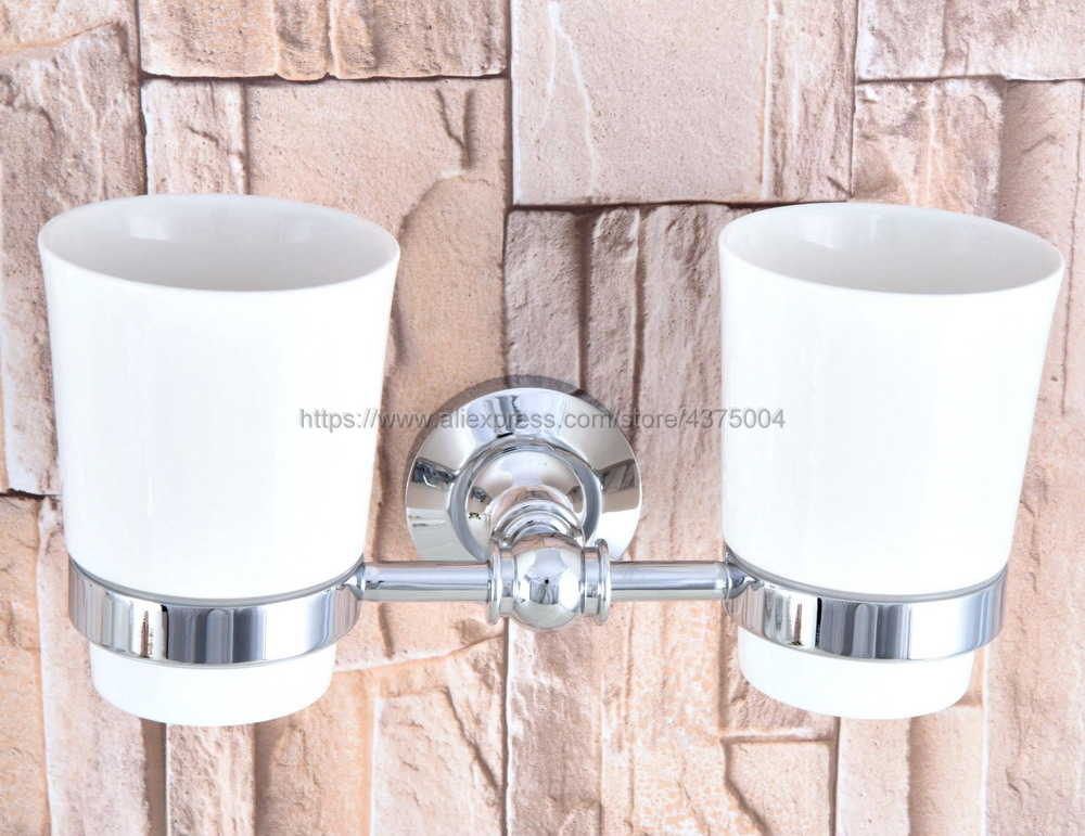 Bathroom Polished Chrome Toothbrush Holder + Two Ceramic Cups Wall Mounted Bathroom Accessories Nba798 image