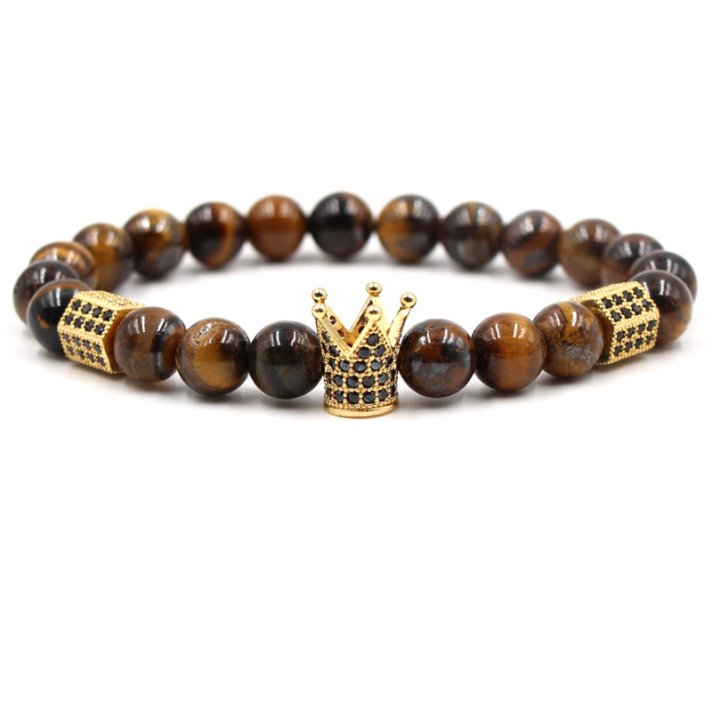 Micro-inlaid zircon gold crown Black lava volcanic stone tiger eye stretch men and women bracelet alloy material Men's jewelry