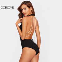 COLROVIE Beading Strappy Back Plunge Halter Bodysuit 2017 Sexy Black V Neck Sleeveless Halter Bodysuit Women
