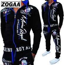 ZOGAA Brand Men 2 Piece Set Hooded Sweatshirts and Pants Set Fitness Traning Sportswear Zipper Track Suit Mens Jogger Sets