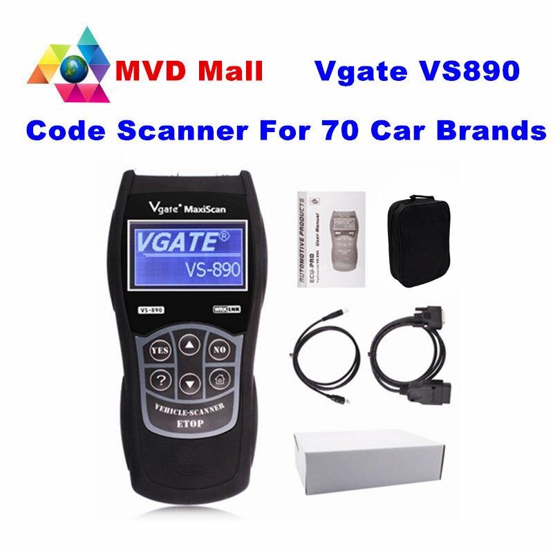 Prix pour Universel Des Données En Direct Scanner Vgate VS890 OBD2 Voiture Lecteur de Code VGATE VS-890 Pour CAN-BUS/ISO/SAE/KWP protocoles VS 890 13 Lanugages