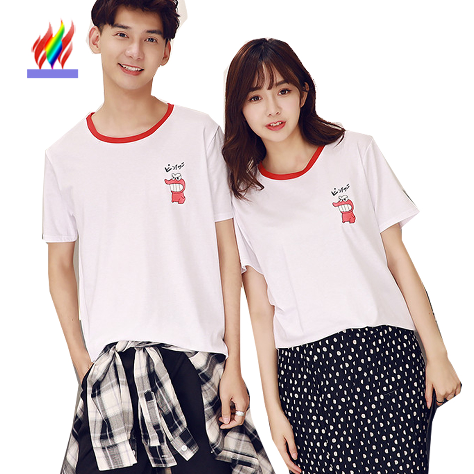 Couple t shirt design white - Couple Clothes Lovers Men Women Holiday Summer Casual T Shirt Cotton Loose Tops Cute Sweet