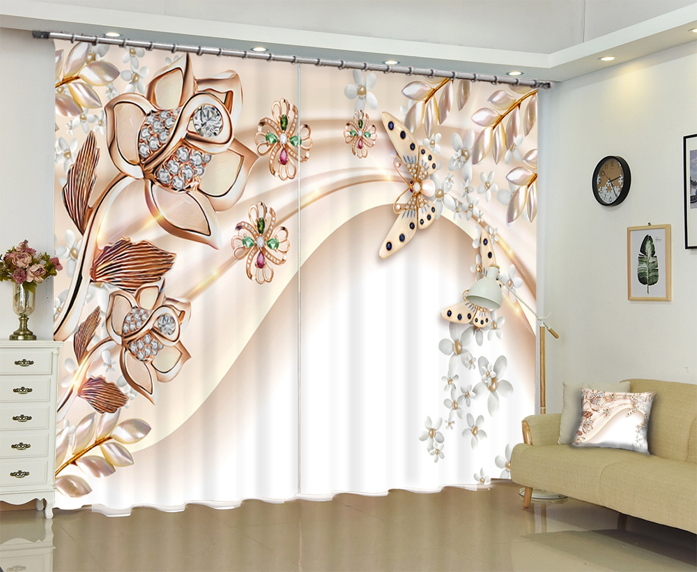 Imprimé Floral personnalisé décor de luxe 3D rideaux de fenêtre occultants pour salon chambre hôtel mur tapisserie Cortinas