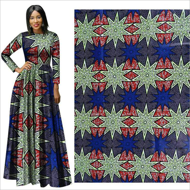 Me-dusa 2019 new star blue red African Print Wax Fabric 100% cotton Hollandais Wax DIY Dress Suit cloth 6yards/pcs High quility(China)