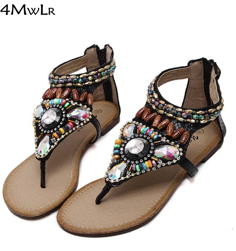 summer beach brand shoes bohemian ethnic beading rhinestone thong sandals flat studded flip flops plus size 35-40 MD2250