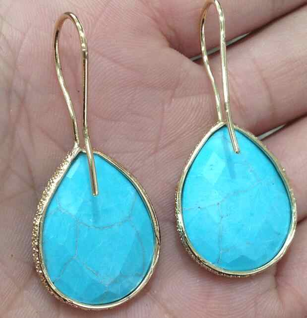 YA2912 Turquoises Faceted Teardrop Gold Drop Hook ต่างหู