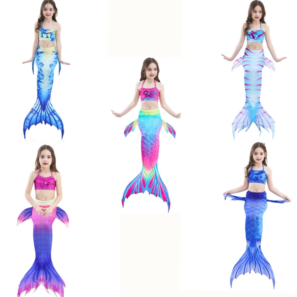 Girls Mermaid Tail Swimsuit Fashion Bikinis Set Kids Swimwear Mermaid Tails Cosplay Costumes Beach Swimming Clothes Girl Swim Mother & Kids