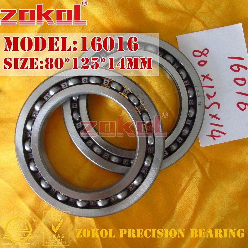 ZOKOL bearing 16016 Deep Groove ball bearing 80*125*14mm zokol bearing 51312 thrust ball bearing 8312 160 200 31mm