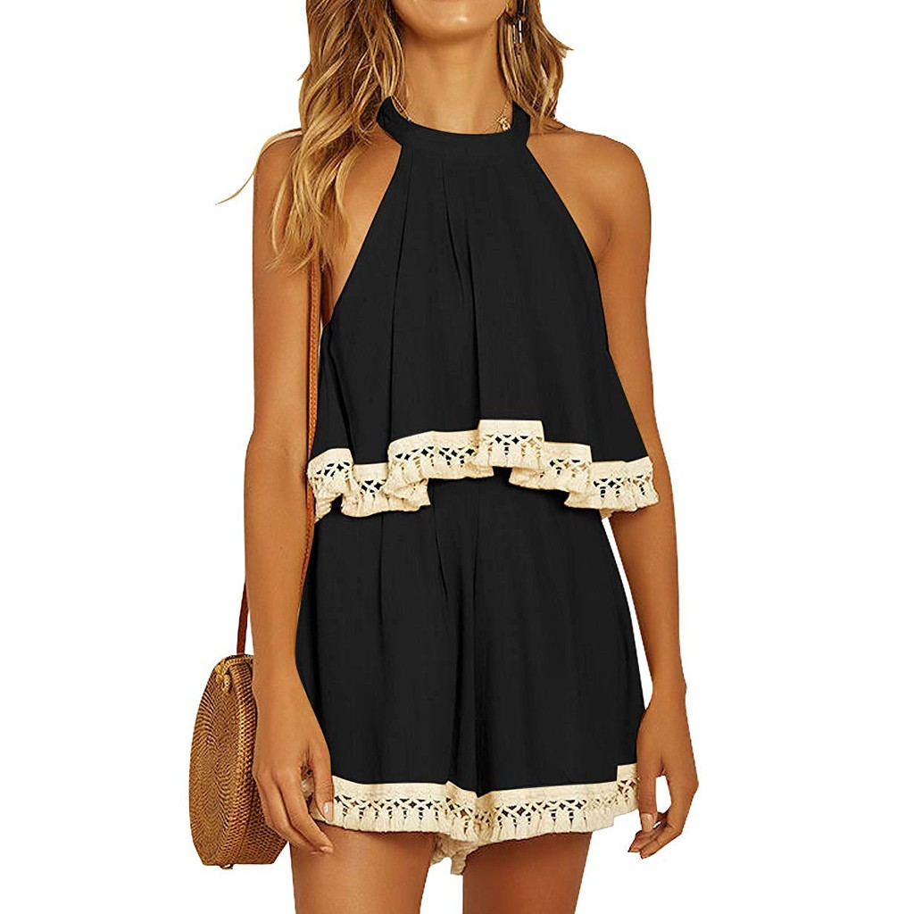 Womens Jumpsuit Fashion Sexy Women Solid Sleeveless Jumpsuit Hanging Neck Strappy Leisure Short Jumpsuit Rompers Womens Jumpsuit
