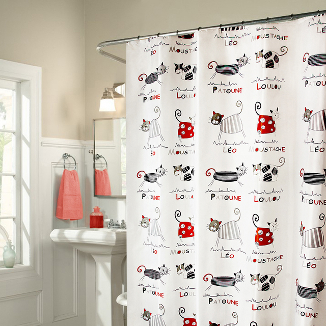 Funny Cartoon Cats Fabric Shower Curtains Liners for Baby Child ...