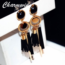 Charmwin Green/black Leather Tassel Long Dangle Earrings For Women Fashion Jewelry Wood Exaggerated Vintage Drop Earrings PE1322