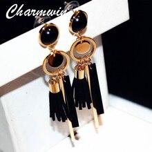 Charmwin Green/black Leather Tassel Long Dangle Earrings For Women Fashion Jewelry Wood Exaggerated Vintage Drop Earrings PE1322