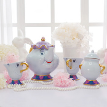 Beauty and the Beast Tea Pot Set Mrs Potts Chip Tea Cup Teapot Sugar Bowl Complete Set Porcelain Creative Xmas Birthday Gift