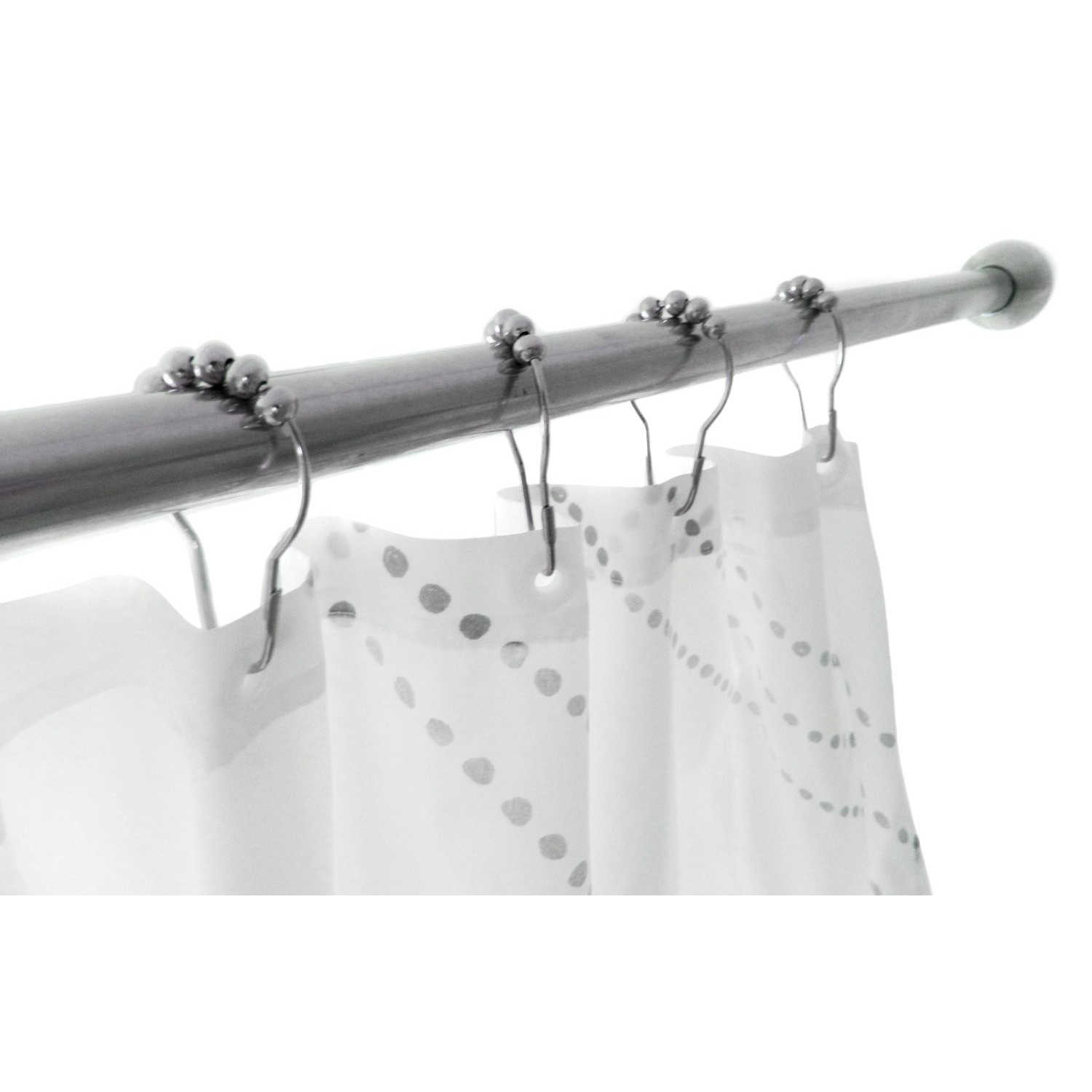 Polished Chrome Rolling Shower Curtain Rings Heavy Duty Hooks