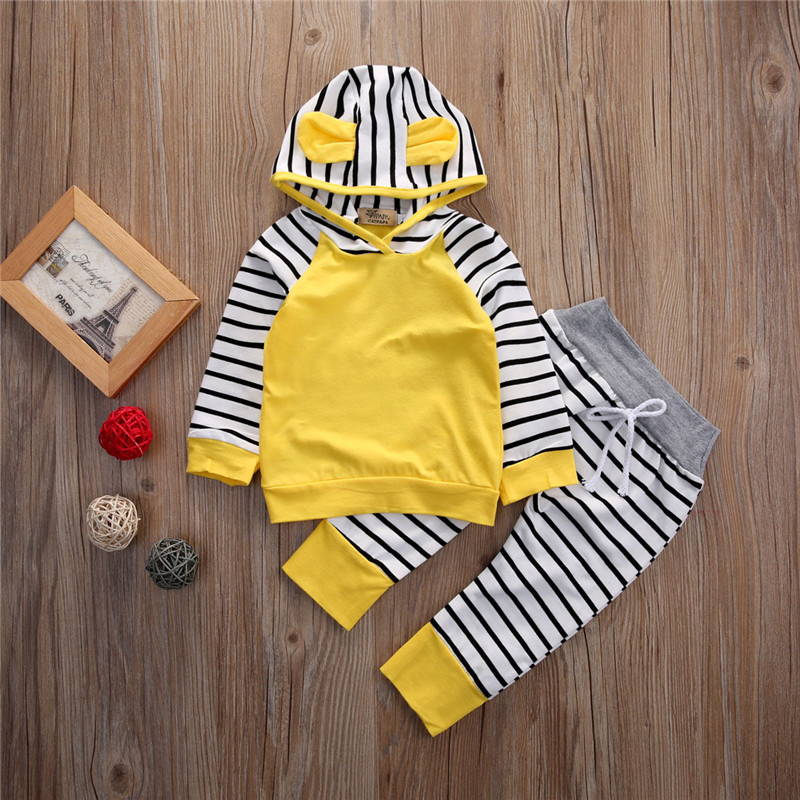 Newborn Baby Boys Clothes Set Yellow Long Sleeve Boys Hoodies Sweatshirt Tops Striped Long Pants Children Set Baby Boys Clothing