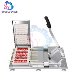 High output profession stainless steel manual kebab skewer making machine hand mutton skewer wear string tool with restaurant