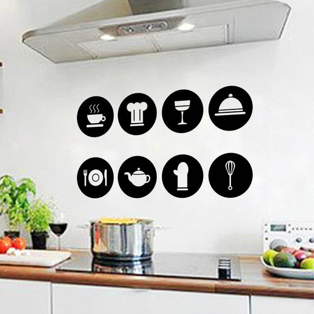 stickers cuisine muraux pictogrammes kitchen tile decor wall sticker tableware pattern vinvyl