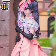 Anime Black Butler Ciel Phantomhive Cosplay Costume Hat+Gloves+Dress+Chaplet+Free Shipping  D